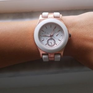 Accessories - Rose gold color and white watch